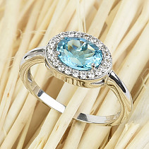 Ring topaz oval with zircons cut 8x6mm Ag 925/1000