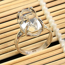 Ring herkimer crystal size 60 silver Ag 925/1000 5,7g
