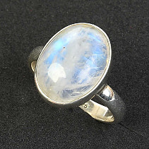 Ring oval moon stone silver Ag 925/1000