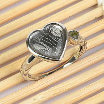 Ring heart meteorite gibeon and moldavite silver Ag 925/1000