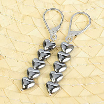 Hematite metallized earrings heart Ag fastening