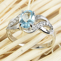Blue topaz ring cut with zircons 8x6mm Ag 925/1000