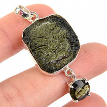 Pendant natural and cut moldavite round Ag 925/1000 (7,8g)