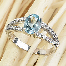 Topaz ring oval with zircons cut 8x6mm Ag 925/1000