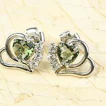 Earrings moldavites and zircons heart 5 x 5mm checker top Ag 925/1000 + Rh