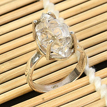 Crystal herkimer ring Ag 925/1000 size 53 4,8g