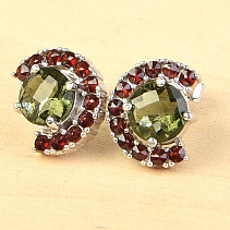 Earrings with moldavites and shells 7mm checker top cut Ag 925/1000 + Rh