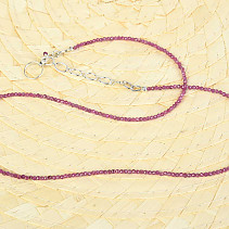Necklace ruby cut Ag fastening
