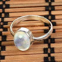 Silver ring moon stone oval Ag 925/1000 QA