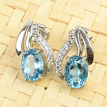 Earrings blue topaz and zircons Ag 925/1000 3,0g