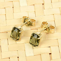 Earrings moldavite rectangle 6x4mm standard cut gold Au 585/1000 14K