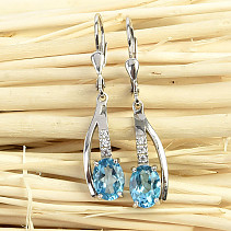 Dangling earrings blue topaz and zircons Ag 925/1000 3,7g