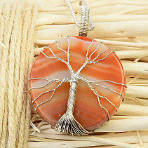Agate Pendant Tree of Life Jewelry Metal (20.7g)