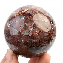 Polished crystal ball with hematite 316g