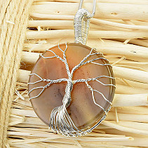 Agate Pendant Tree of Life Jewelry Metal (15.0g)