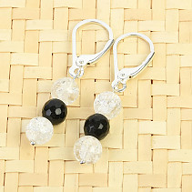 Crystal Beads and Tourmaline Earrings Ag fastening