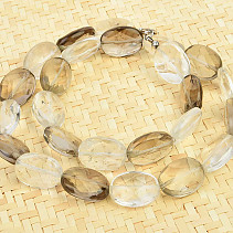 Necklace cut oval crystal + smoky 51cm