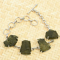 Bracelet with raw moldavites Ag 925/1000 19,3g