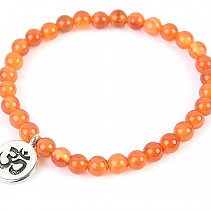 Carnelian ball bracelet 6mm with OHM emblem