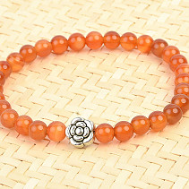 Carnelian ball bracelet 6mm + decorative flower