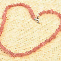 Necklace rhodochrozite chopped shapes Ag clasp