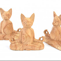 Wooden carving of a meditating cat 15cm