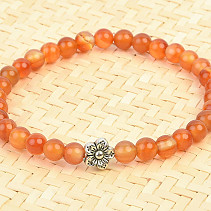 Carnelian ball bracelet with a jewelry flower