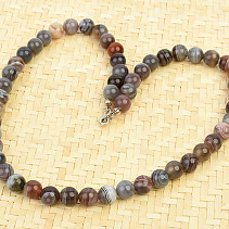 Agate necklace smooth beads 8mm 44cm