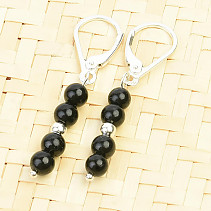 Tourmaline black ball earrings 4mm Ag clasp
