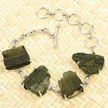 Bracelet with raw moldavites Ag 925/1000 22.2g