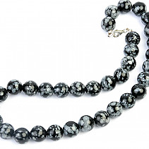 Obsidian flake necklace regular beads 13mm 45cm
