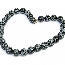 Obsidian flake necklace beads 14mm 45cm