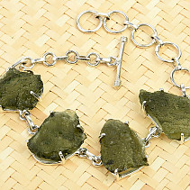 Bracelet with raw moldavites Ag 925/1000 21,0g
