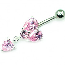 OPNG135 navel piercing pink hearts