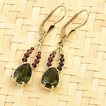 Drop earrings of moldavites and garnets standard cut gold Au 585/1000 14K 3.90g