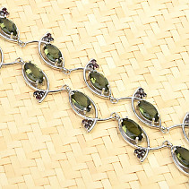 Cut moldavites and garnets luxury necklace 49cm Ag 925/1000 + Rh 40,6g
