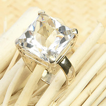 Ring with cut crystal Ag 925/1000 7.4g size 53