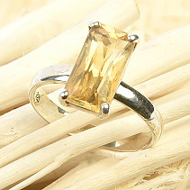 Citrine ring cut Ag 925/1000 3,0g size 56