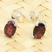 Tourmaline rubelite earrings oval Ag 925/1000 0.9g