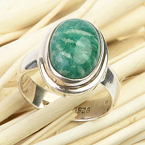Amazonite silver ring oval Ag 925/1000 6.5g size 57