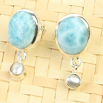 Oval earrings larimar and pearl Ag 925/1000 3.7g