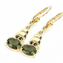 Moldavite earrings and garnets standard cut gold Au 585/1000 14K 3.72g