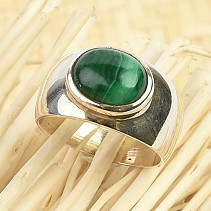 Oval malachite ring Ag 925/1000