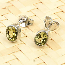 Oval earrings tourmaline verdelite Ag 925/1000 0.9g