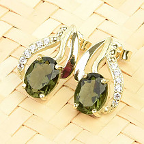 Gold moldavite earrings and zircons 8x6mm standard cut 14K Au 585/1000 3.32g