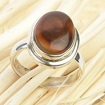 Fiery agate ring Ag 925/1000 6g size 57