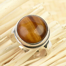 Tiger eye round ring Ag 925/1000 size 58 (6.1g)