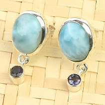 Oval earrings larimar and iolite Ag 925/1000 3.7g