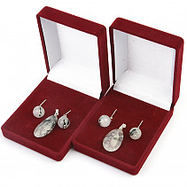 Crystal with tourmaline gift set Ag hooks and handle