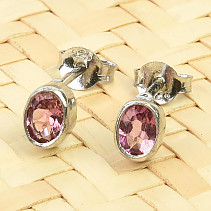 Oval earrings tourmaline rubelite Ag 925/1000